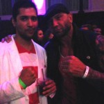 Sharp dressed Mario with wrestler, David Bautista.