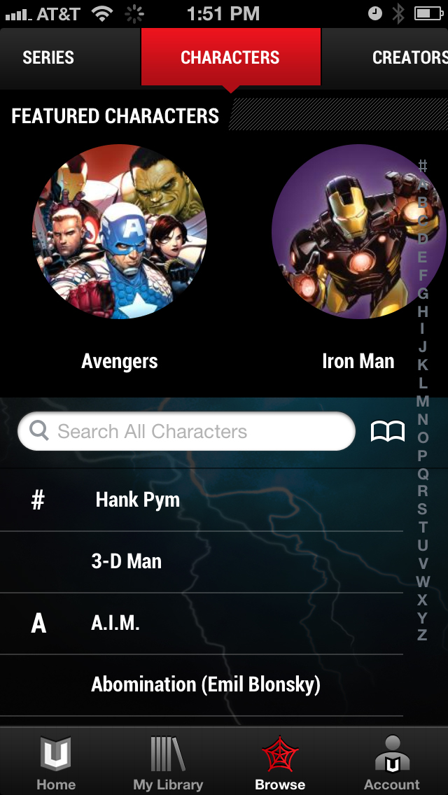 MarvelUnlimited_BrowseByCharacterScreen