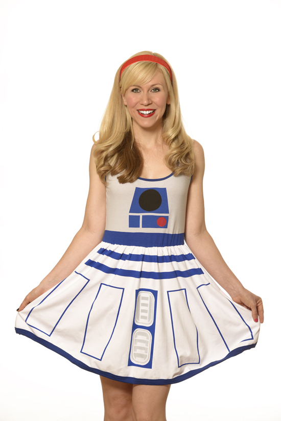 Everyone loves R2-D2 and everyone will love YOU in this new dress available at Comic-Con! Save the day and pretend that you are everyone's favorite droid in this adorable A-line dress! Perfect for summer, this dress will definitely be a conversation starter wherever you go!