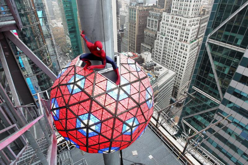 SONY PICTURES ENTERTAINMENT SPIDER-MAN IN TIMES SQUARE FOR NEW YEAR'S EVE CELEBRATION