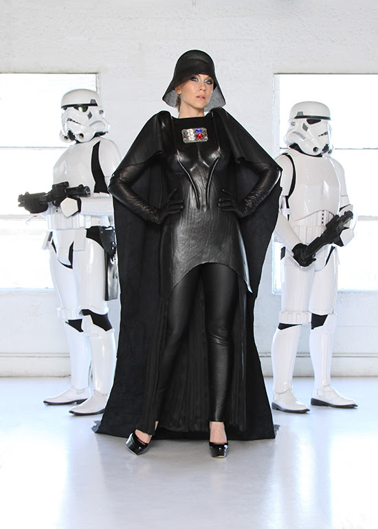 Ashley Eckstein in a Her Universe designed, handcrafted leather, Darth Vader Couture piece made by designer Doug Dunnam.