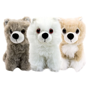 """Game Of Thrones - Direwolf Cub 6 Inch Plush Box Set 2015 Convention Exclusive Comic-Con is coming and so is our Direwolf Cub Plush set! As seen on the smash hit show, Game of Thrones, the children of House Stark discovered and adopted a litter of direwolf cubs, with each child paired to a distinct animal that he or she raised. While they eventually grew to become fearsome guardians of the Starks and Jon Snow, our Convention Exclusive box set honors three of those loyal companions as the adorable cubs they started out as.  Featuring Ghost, Nymeria and Grey Wind, these 6"""" tall direwolf cubs are ready to join you on any adventure through Westeros and beyond! Limited to 1500 pieces"""