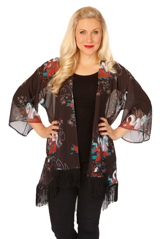 Featuring imagery from Hayao Miyazaki's timeless film, Spirited Away, this open front chiffon kimono top reflects the magical world powerfully brought to life in the Studio Ghibli classic - including Haku as the beautifully transformed silver dragon.