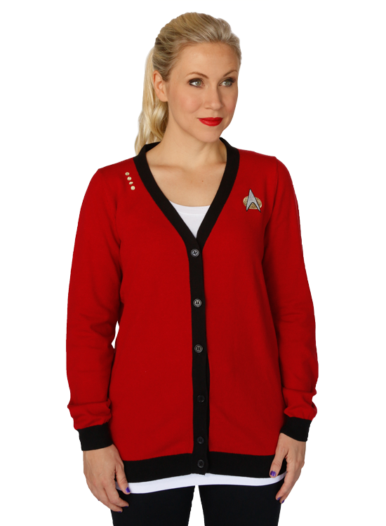 """Make it so"" with this stunning Starfleet-style Garnet Cardigan from Her Universe! Captain Jean-Luc Picard would approve of this quality-made cardigan which reflects the fashion of ""The Final Frontier."""