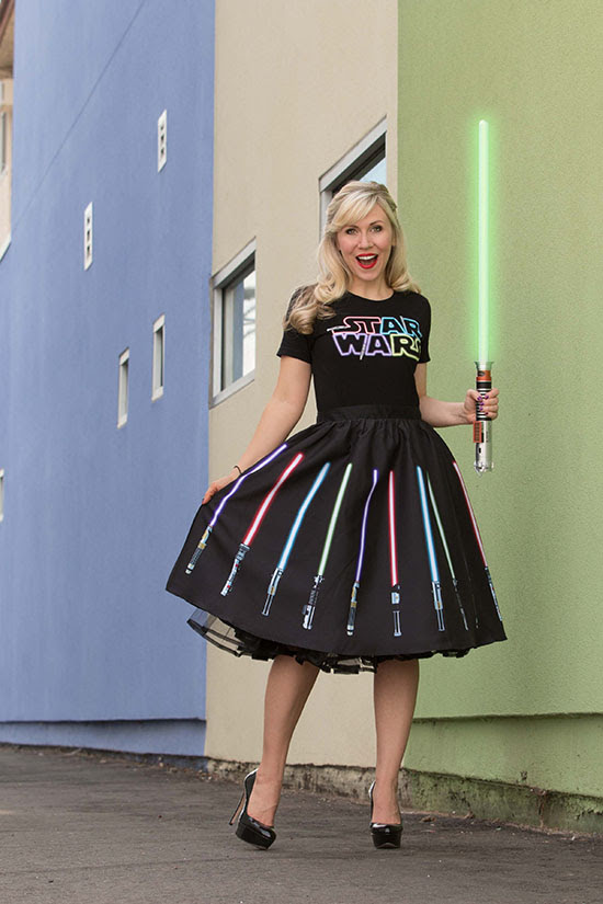 Already an Internet sensation, the Force is definitely with this popular Her Universe lightsaber skirt and shirt which will be available at the Her Universe Boutique #2913Q in the Lucasfilm Pavilion at San Diego Comic-Con.