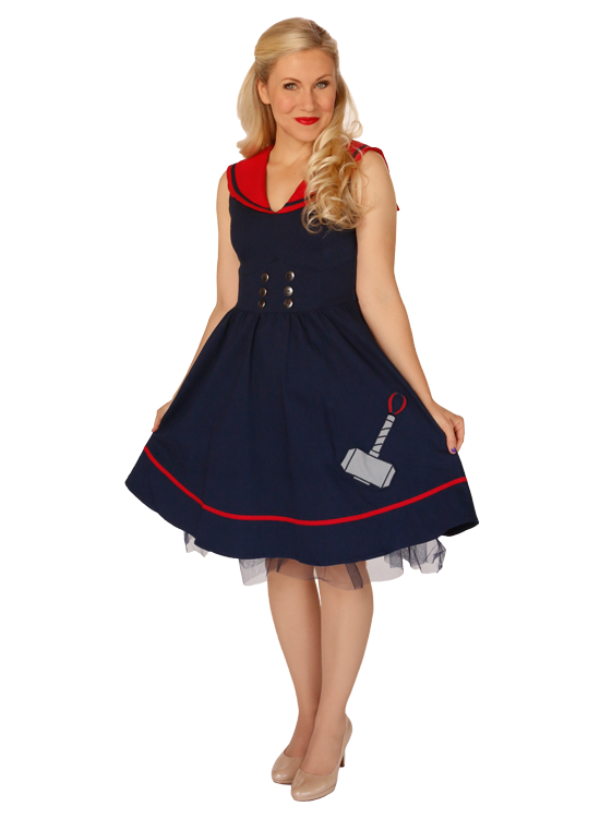 Designed by last year's Her Universe Fashion Show winners, with Ashley Eckstein, for Hot Topic's Marvel Avengers Collection, this Her Universe Thor Navy dress with embroidered hammer detailing, red sailor style collar, button accents and side zipper closure, is available at SDCC while supplies last.
