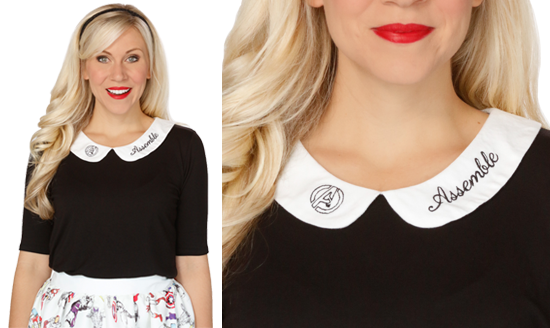 This striking Her Universe black and white stylish top has a subtle nod to everyone's favorite superhero group and their famous phrase. Embroidered on the collar is the famous Avengers symbol followed by the line ASSEMBLE – put them together and you have AVENGERS ASSEMBLE!