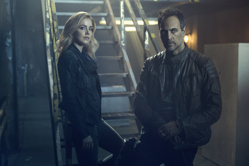 12 MONKEYS -- Season:2 -- Pictured: (l-r) Amanda Schull as Cassandra Railly, Todd Stashwick as Deacon -- (Photo by: Kurt Iswarlenko/Syfy)