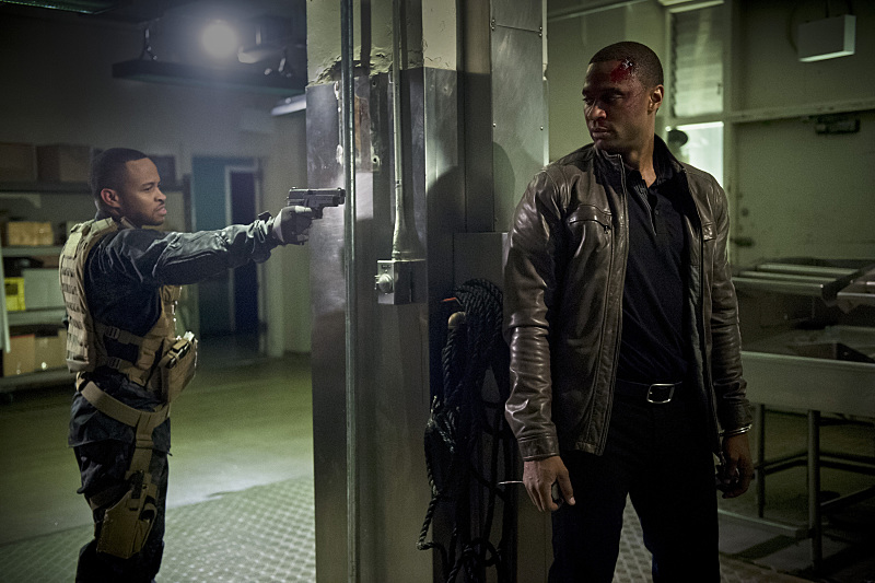 "Arrow -- "" Genesis"" -- Image AR420a_0319b.jpg -- Pictured (L-R): Eugene Byrd as Andy Diggle and David Ramsey as John Diggle -- Photo: Diyah Pera/The CW -- �© 2016 The CW Network, LLC. All Rights Reserved."