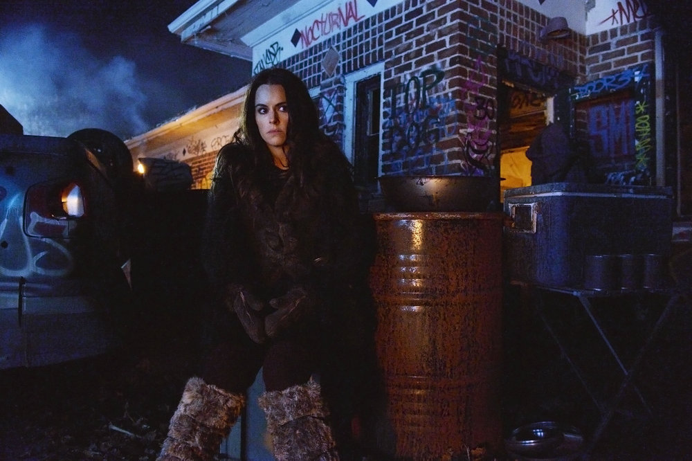 "12 MONKEYS -- ""Blood Washed Away"" Episode 212 -- Pictured: Emily Hampshire as Jennifer Goines -- (Photo by: Ben Mark Holzberg/Syfy)"